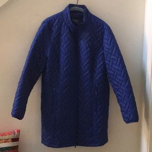 Women's Lands End blue quilted car coat Size XL